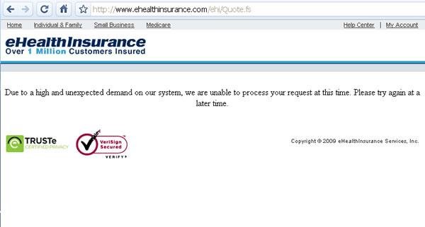 ehealthinsurance com down