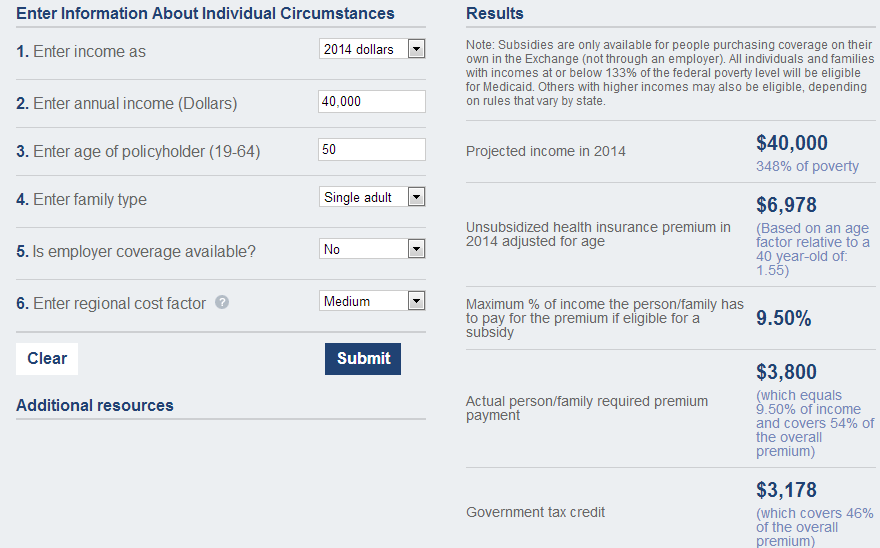 Example Healthinsurance Subsidy  Single 40000