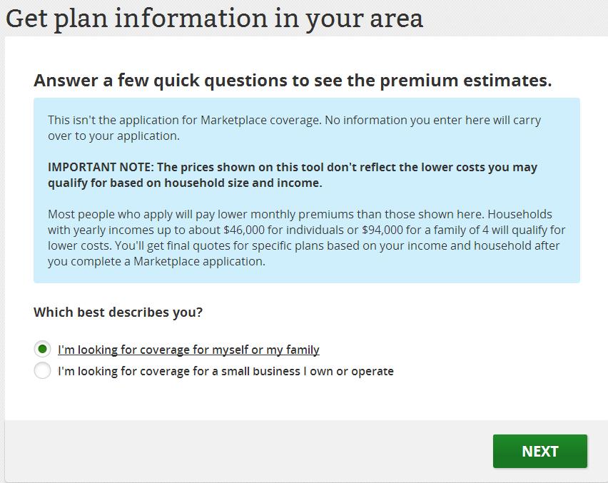 health insurance estimator